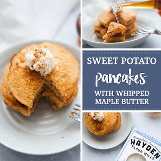 Sweet Potato Pancakes with Whipped Maple Butter.