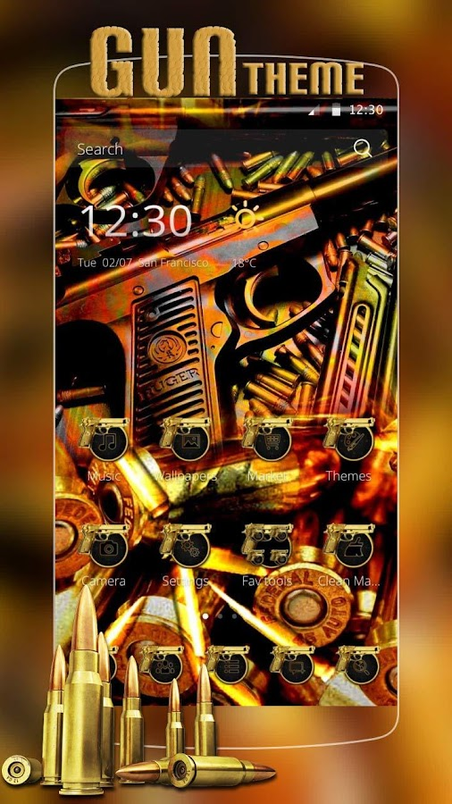 Gun Theme Gold AK47 SMG Pistol- screenshot