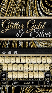 Luxury Gold & Silver Keyboard Glitter Theme - náhled