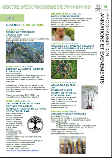 Programme MAI 2021 des activités et animations au centre d'écotourisme de Franchard  stage aquarelle en plein air  Jeanne PAPA
