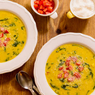 Spicy Red Lentil Soup with Coconut Milk and Spinach.