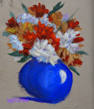 Photo: Acrylic - Even in a still life to create depth, leave the back elements softer and grayer, things in front more colorful and detailed.