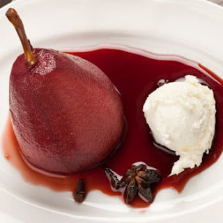 Red Wine Poached Pears with Mascarpone