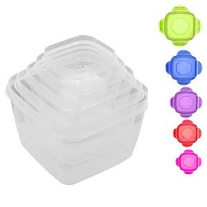 Set 5 caserole plastic cu capac, transparente, 10 piese