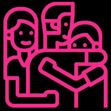 pink family hugging