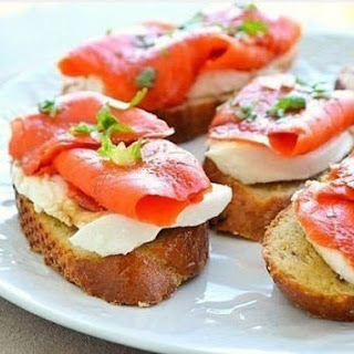 Crispy Sandwiches With Mozzarella And Smoked Salmon.
