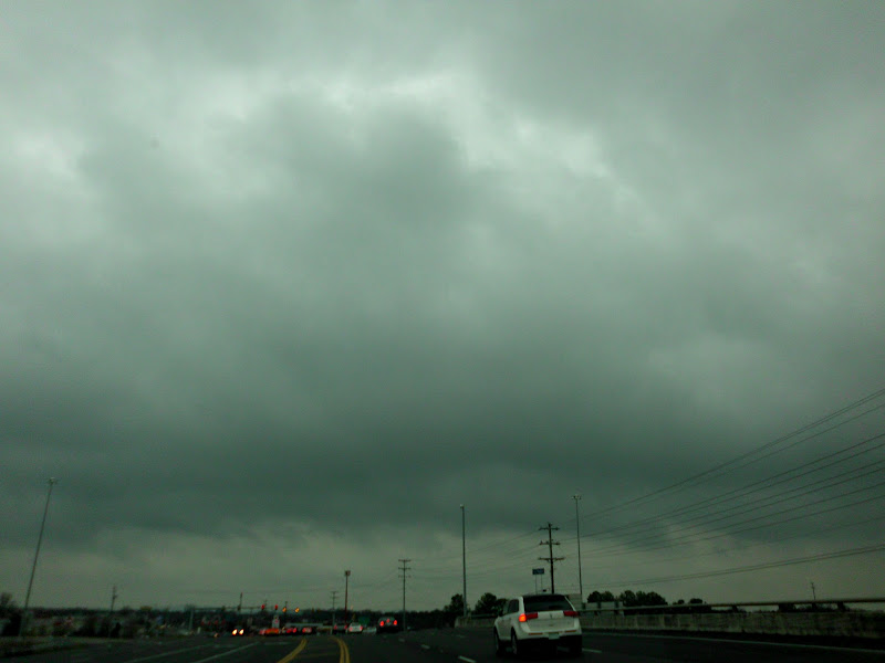 Photo: Hummm...looks more like rain clouds now that everyone has emptied all the shelves at Walmart. Glad to be headed home.