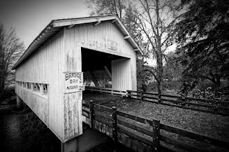 """Photo: Circa 1932  Next Fall one of my missions will be to travel around Oregon to discover more of it's covered bridges. Maybe I'll have to make August 25th one of the days to get out and shoot since it is """"Bridge Day"""" and is on FB (which makes it totally legit).  This is Crawfordsville Bridge over the Calapooya River which I visited on my to watch the Oregon Ducks sadly lose to Stanford. I say Oregon lost the game more than Stanford won it, but then again I'm no Bob Costas."""