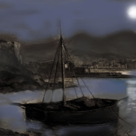 Night at the sea... by Morris Kleyman - Drawing All Drawing ( colors..., colors, places, landscapes )