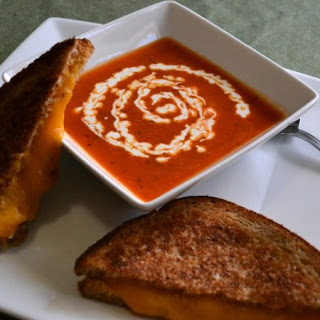 Basil Tomato Soup Recipe With Grilled Cheese.