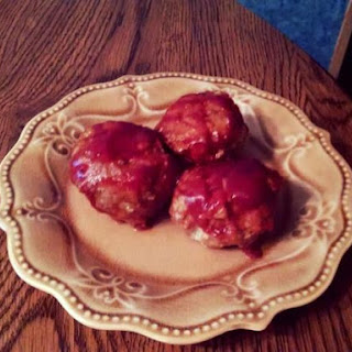 Cheddar Brat Meatballs Glazed with Stadium Suace