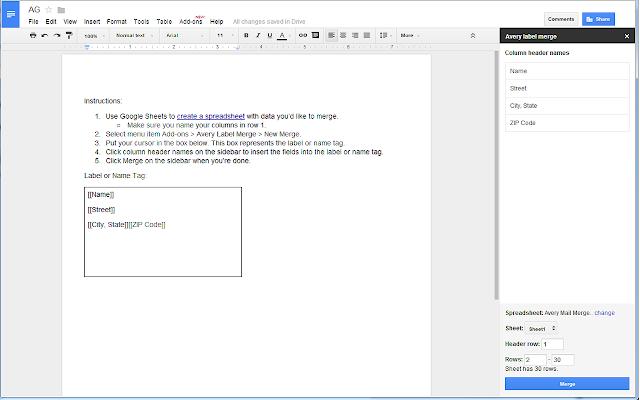 Avery Label Merge - Google Docs add-on