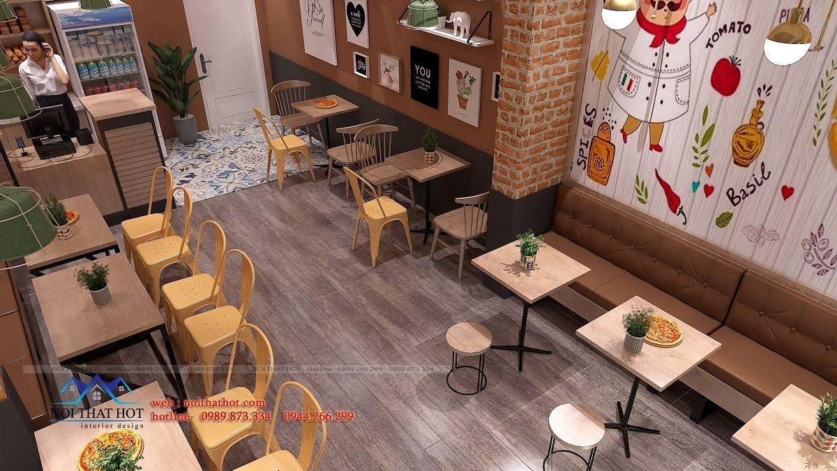 thiết kế cửa hàng pizza bau's 14