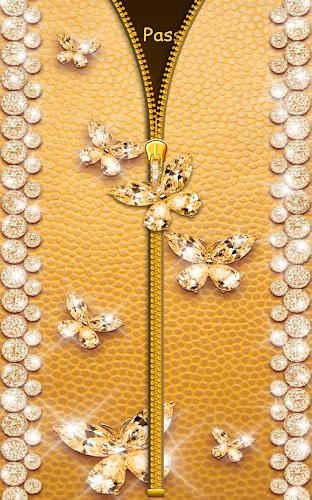 Gold Butterfly Diamond Zipper Lock APK