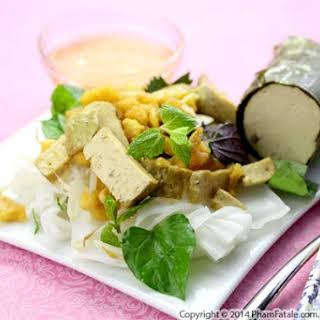 Banh Uot Cha Lua Chay (Vegetarian Vietnamese Rice Noodles).