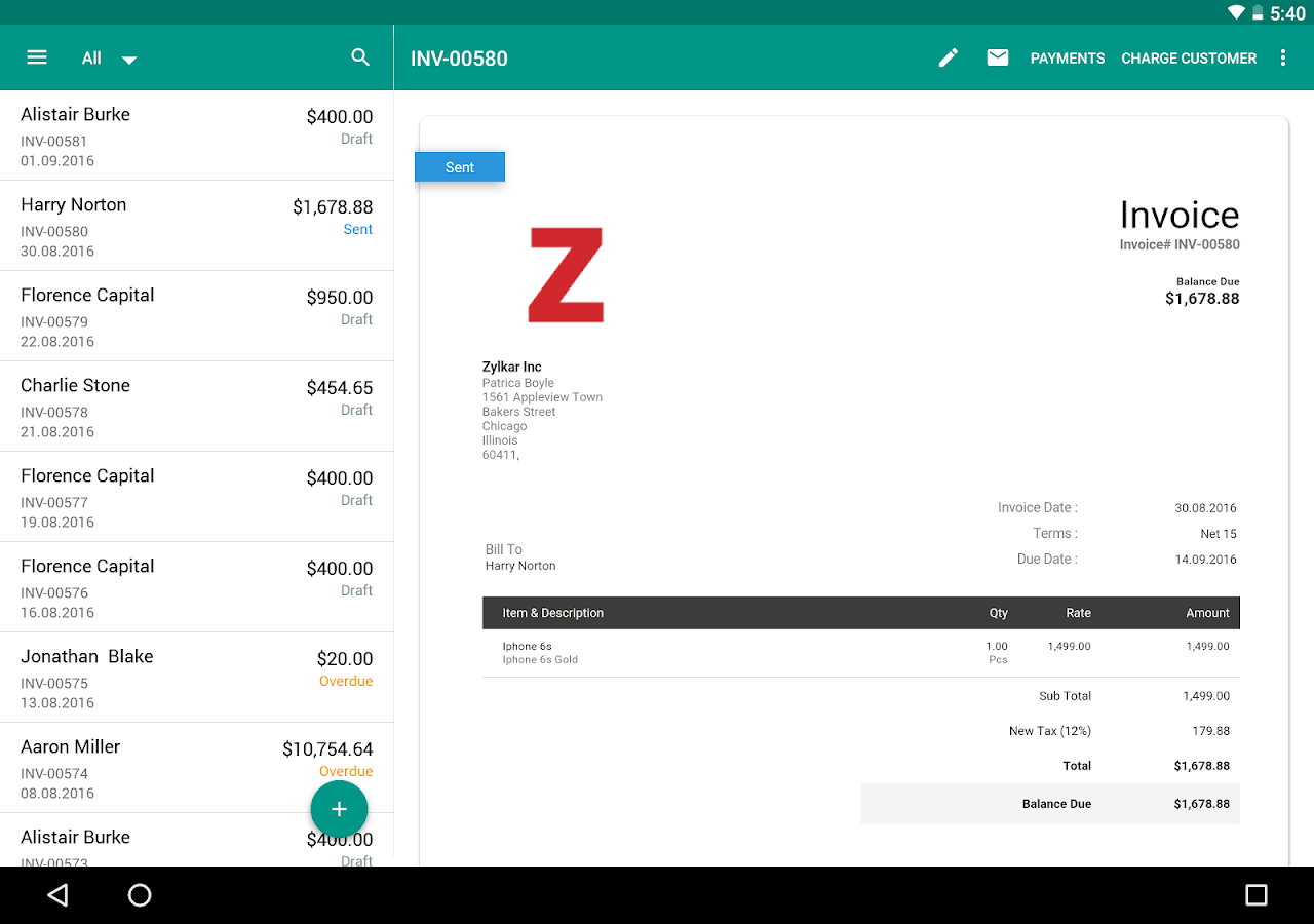 Invoice & Time Tracking - Zoho- screenshot