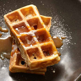Crispy Waffles with Salted Caramel Coulis.