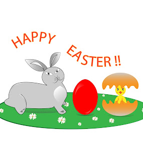 Easter symbols by Lidia Steffy - Illustration Cartoons & Characters ( easter egg, dye egg, easter, spring time, bunny, egg hunt, easter symbol, characters for easter, easter wish, baby chicks, easter celebration )