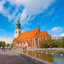 Square in Berlin by Pravine Chester - City,  Street & Park  Vistas ( vistas, building, church, street, architecture, berlin, city )