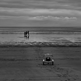 Left Behind and Forgotten by Jon Marshall - Landscapes Waterscapes ( tricycle, b&w, beach )