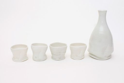 Sandy Lockwood Porcelain Sake Bottle and Cups