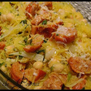 Spaghetti Squash With Chick Peas and Sausage