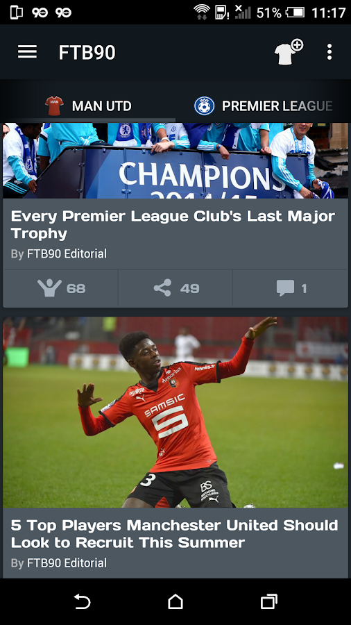 FTB90 - Live Soccer News App- screenshot