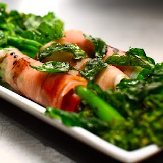 Prosciutto Wrapped Broccolini With Basil Crisps