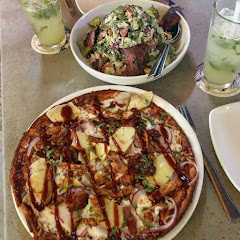 BBQ Chicken Pizza with Bacon and Pineapple, with the Steak Salad.