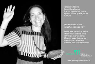 Photo: Francesca Battistoni, alumna de la segunda edición del Máster (2004/2005). Rossini Opera Festival.