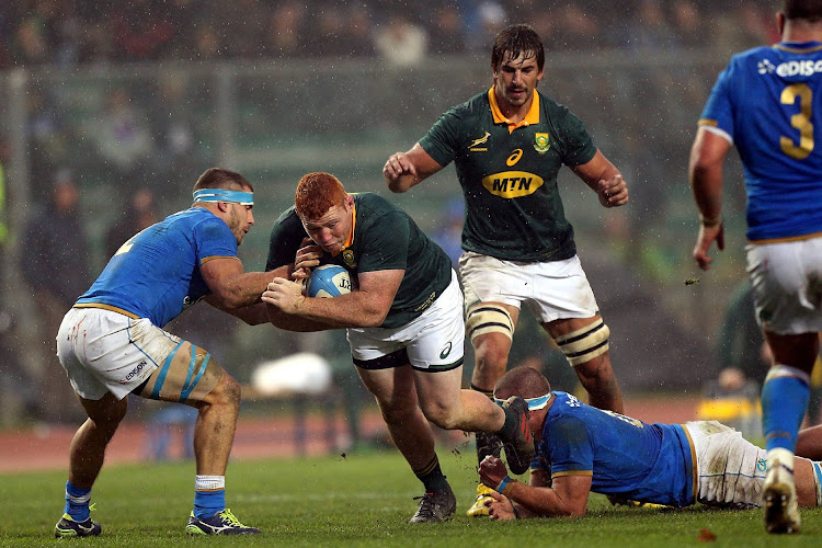 Steven Kitshoff of South Africa in action during the Castle Lager Outgoing Tour match between Italy and South Africa at Stadio Euganeo on November 25, 2017 in Padova, Italy.