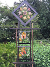 Photo: 6 Foot Metal Fall Leaf Trellis with Painted Wood and Copper by Artist Roxann Van Wyk