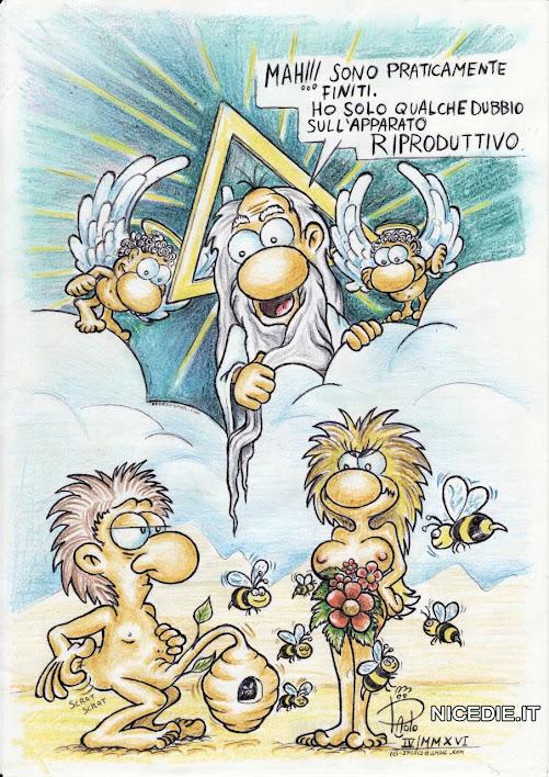 Dio ha creato l'uomo con un alveare e la donna con un mazzo di fiori, ora ga dei dubbi...