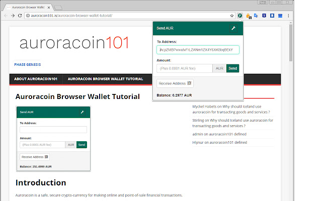Auroracoin Browser Wallet
