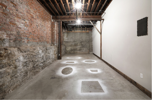 Iemke van Dijk, Untilted, Baking soda on floor, 4x10m, Track One, Nashville, 2018