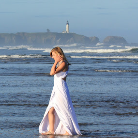 Mermaid 2 by Lisa Kidd - People Portraits of Women ( water, blonde, blue, ocean )