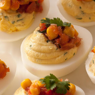 Green Chile Deviled Eggs