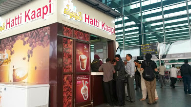"""Photo: Flyers' favourite coffee spot, Hatti Kaapi at Bengaluru Kempegowda International Airport. A cup of milk coffee is around 15INR, my husband said. I feel this airport has much more """"out of the terminal building"""" snack options than Mumbai International Airport, and hope that all Indian airports compete for this aspect. 26th November updated (日本語はこちら) -http://asksiddhi.in/blog/display/54/view"""