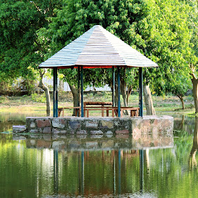 waterscape by Nafees Bazmi - Landscapes Waterscapes ( reflection water green hut shadow, waterscape )