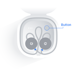 Button located above right Pixel Bud in charging case