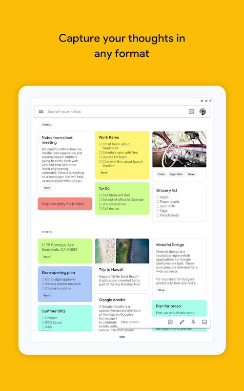 Google Keep - Notes and Lists screenshots