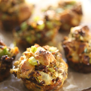 Chorizo & Brussel Sprout Stuffing Muffins