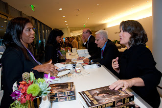Photo: Sheila Bair discusses her book with a participant at the RAND Politics Aside event in Santa Monica.
