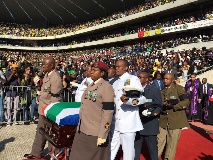 The coffin of late struggle stalwart Winnie Madikizela-Mandela arrives at Orlando Stadium in Soweto.