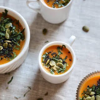 Creamy Roasted Carrot Soup with Miso and Black Sesame.