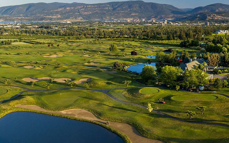 An aerial view of The Harvest Golf club in Kelowna.