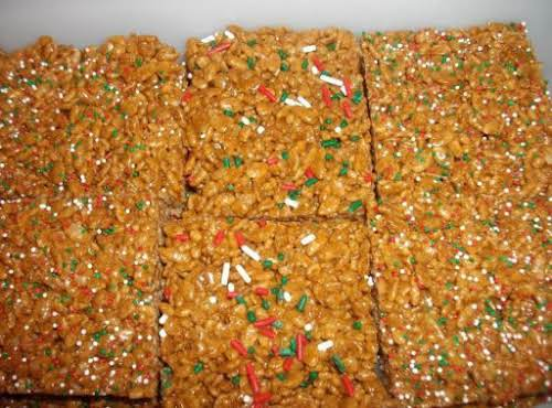 "Gingerbread Marshmallow Crispies ""These Gingerbread Marshmallow Crispies are amazingly scrumptious! The extra..."