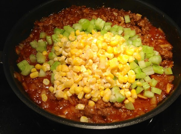 Add celery and corn to meat mixture; cover and cook until celery is al...
