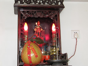 Photo: Day 206 - Shrine in the Hotel Reception Area, With a Mango Offering