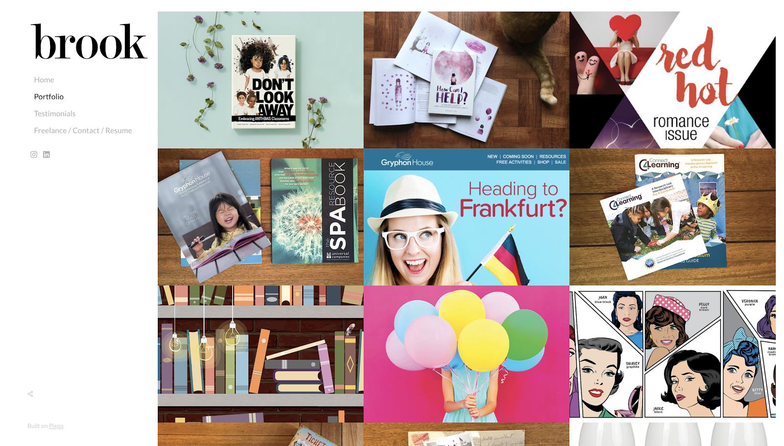 Graphic design portfolio: Brook portfolio homepage